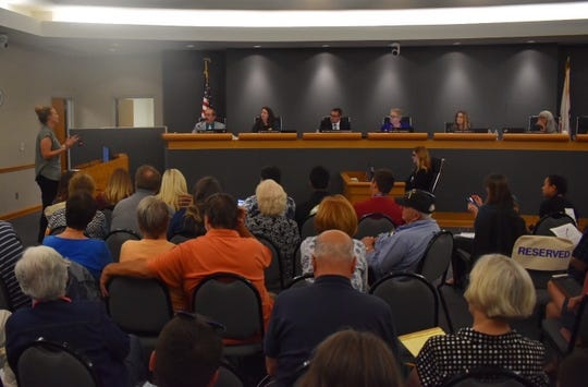 People packed a board room for a Conejo Valley Unified School District Board discussion of sexual health education.