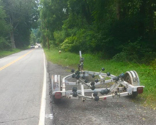 A boat trailer was found in Ramapo about 3 miles from where a boat was found in the road last Thursday.