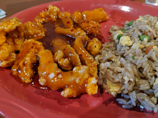 Orange chicken and fried rice at the ER Cafe.