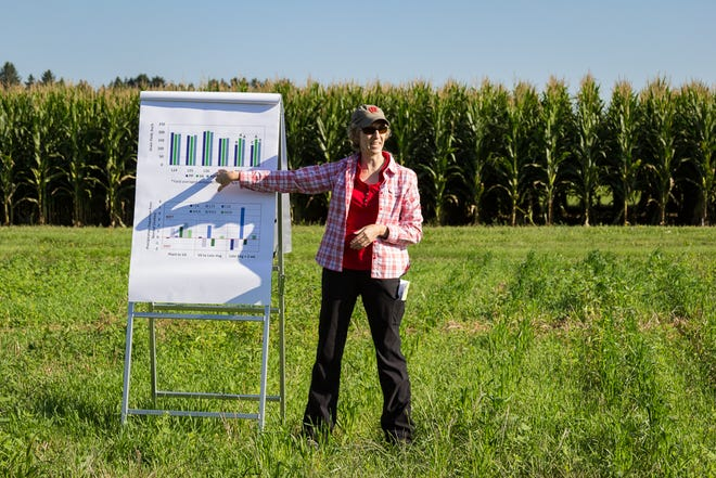 Carrie Laboski, Extension soils scientist at UW-Madison, leads a field tour at the 2018 Agronomy/Soils Field Day. Currently UW Extension specialists who teach farmers outside of the traditional college setting are not able to count this time toward their teaching time on the university's dashboard. SB 79 would change the law to count these hours.