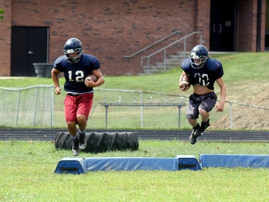 Morgan players go through a bag drill during a recent practice at the high school. The Raiders hope an improved offseason program helps them improve on a 1-9 record in 2018.