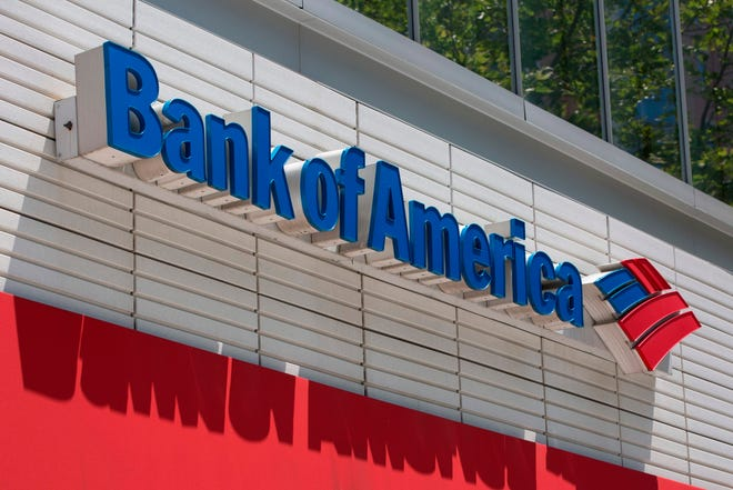 In this file photo taken on July 9, 2019 the Bank of America logo is seen outside a branch in Washington, DC.