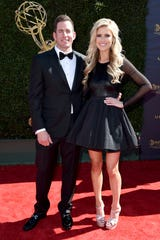 Tarek El Moussa, left and Christina El Moussa arrive at the 44th annual Daytime Emmy Awards at the Pasadena Civic Center on Sunday, April 30, 2017, in Pasadena, Calif. (Photo by Richard Shotwell/Invision/AP) ORG XMIT: CARA110