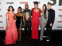 """NEW YORK, NEW YORK - AUGUST 20: Lela Loren, Naturi Naughton, Omari Hardwick, Courtney A. Kemp, La La Anthony, and Joseph Sikora at STARZ Madison Square Garden """"Power"""" Season 6 Red Carpet Premiere, Concert, and Party on August 20, 2019 in New York City. (Photo by Jamie McCarthy/Getty Images for STARZ) ORG XMIT: 775390144 ORIG FILE ID: 1169255901"""