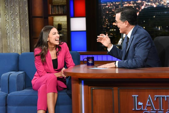 "Rep. Alexandria Ocasio-Cortez, D-N.Y., appears on ""The Late Show"" with Stephen Colbert on June 26, 2019."