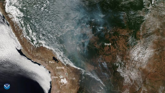 This true-color image was captured by the VIIRS sensor onboard NOAA-20, which provides daily, high-resolution visible and infrared images of Earth's atmosphere from across the globe.  In this image, taken by NOAA-20, the smoke from these fires can be clearly seen.