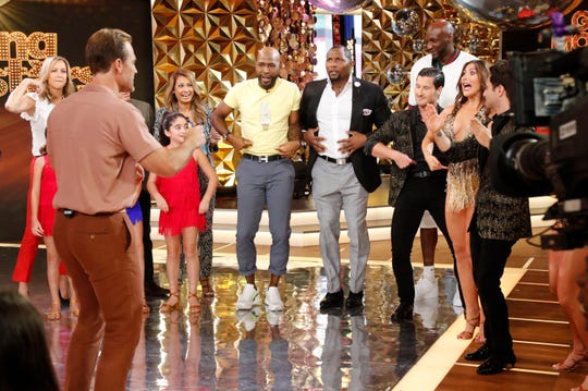 Actor James Van Der Beek, left front, takes to the 'Good Morning America' floor with fellow 'Dancing with the Stars' participants during the Season 28 cast reveal for the ABC dancing competition.