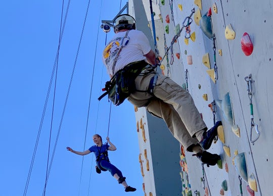 A hotel Reno, Nevada, claims to have the world's highest climbing wall, which reaches 164 feet.