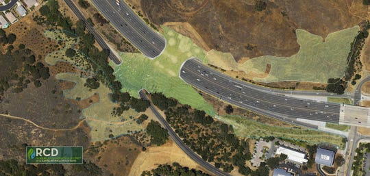 This artist's rendering provided by the Resource Conservation District of the Santa Monica Mountains shows a planned wildlife crossing over U.S. Highway 101 in Agoura Hills, Calif.
