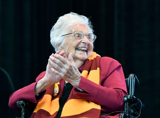 Sister Jean Dolores Schmidt during her 100th birthday celebration.