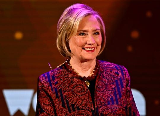 Hillary Clinton speaks during the 10th Anniversary Women in the World Summit on April 12, 2019 in New York City.