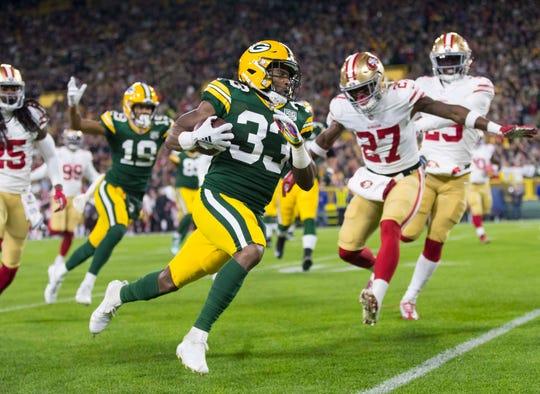 Green Bay Packers running back Aaron Jones.