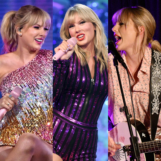 Taylor Swift during various live appearances in her 'Lover' promotional cycle.