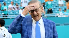 Nov 19, 2017; Miami Gardens, FL, USA; Miami Dolphins owner Stephen Ross prior to a game against Tampa Bay Buccaneers at Hard Rock Stadium. Mandatory Credit: Steve Mitchell-USA TODAY Sports