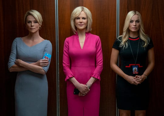 """Charlize Theron (left) stars as Megyn Kelly, Nicole Kidman plays Gretchen Carlson and Margot Robbie is Kayla Pospisil in """"Bombshell."""""""