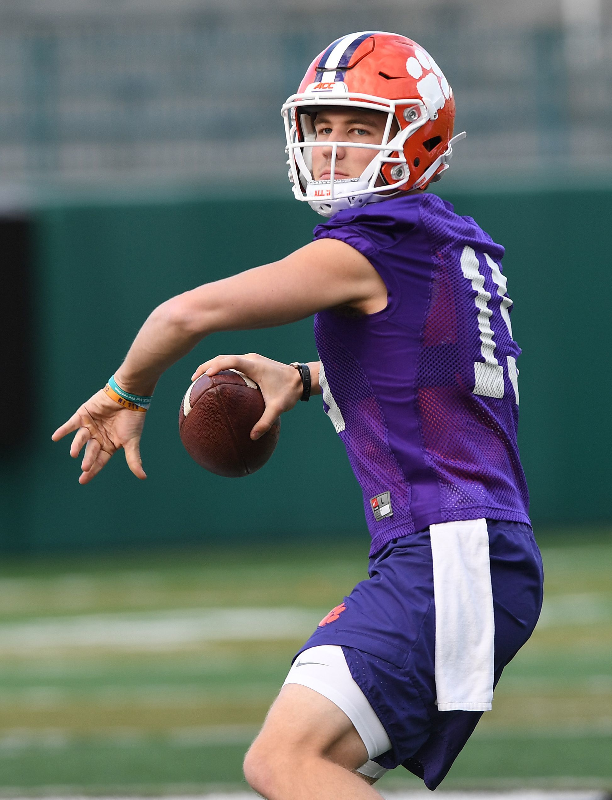 Hunter Johnson (15) spent the 2017 season with Clemson before deciding to transfer to Northwestern.