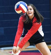 Powdersville sophomore Megan Carpenter(13) practices at Powdersville High School Thursday.