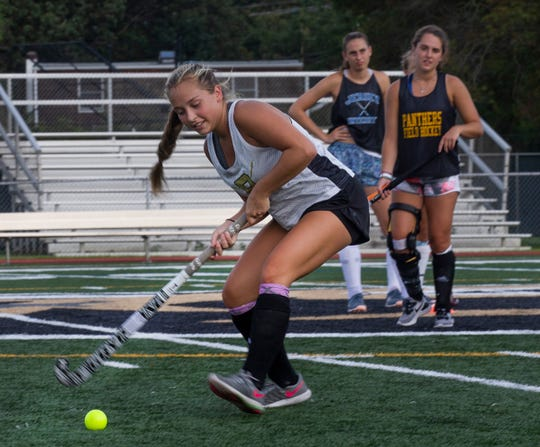 Lauren Magley during drills.  Point Pleasant Boro field hockey practice in Point Pleasant Boro, NJ on August 22, 2019.