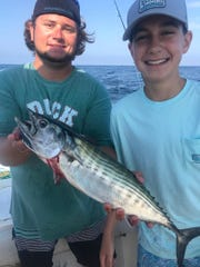 Capt. Nick DeGennaro (left) and Jackson Bergamo with a Barnegat Ridge bonito on the Hi Flier.