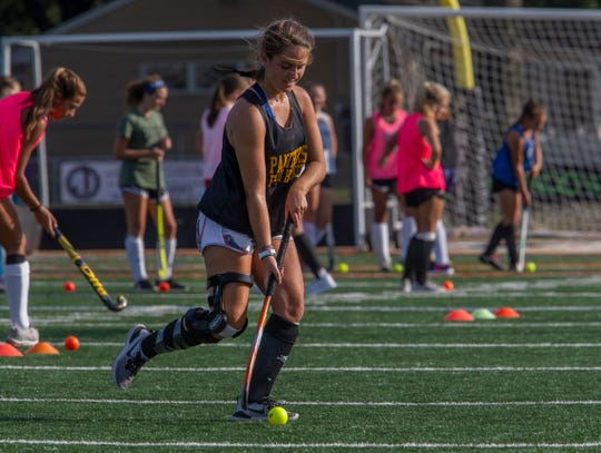 Cassie Campbell moves the ball during drills. Point Pleasant Boro field hockey practice in Point Pleasant Boro, NJ on August 22, 2019.