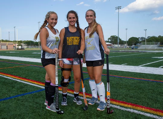 Point Pleasant Field Hockey Captains Lauren Magley, Cassie Campbell, and Jordan Carr. Point Pleasant Boro field hockey practice in Point Pleasant Boro, NJ on August 22, 2019.