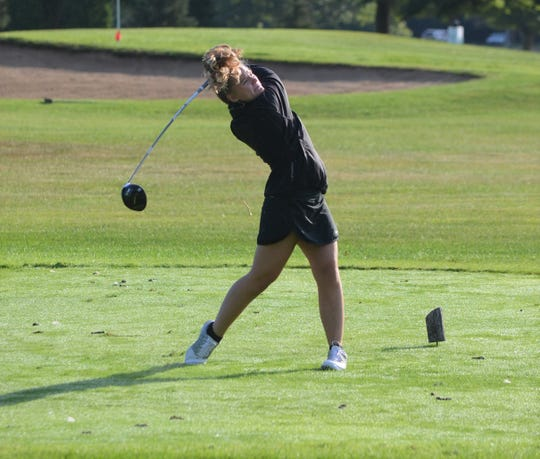 Lakeview senior Brooklyn Burrows watches her drive at the  Gull Lake Invitational on Thursday as the high school girls golf season gets underway this week.