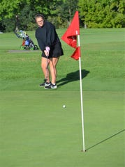 Lakeview's Payton Stitt watches her putt go toward the flag at the  Gull Lake Invitational on Thursday as the high school girls golf season gets underway this week.
