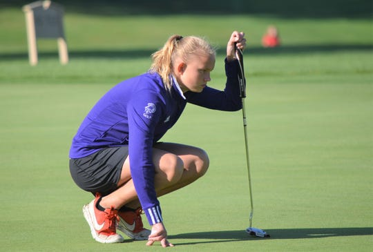 Lakeview freshman Alexa Thurman lines up a putt at the  Gull Lake Invitational on Thursday as the high school girls golf season gets underway this week.