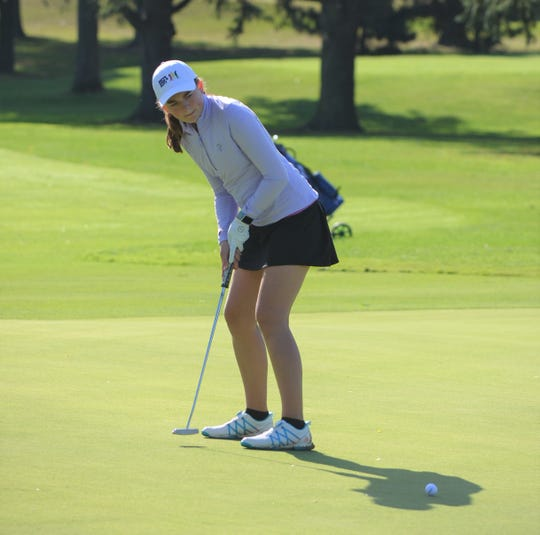 Lakeview's Annabelle Minnemann watches her putt at the  Gull Lake Invitational on Thursday as the high school girls golf season gets underway this week.