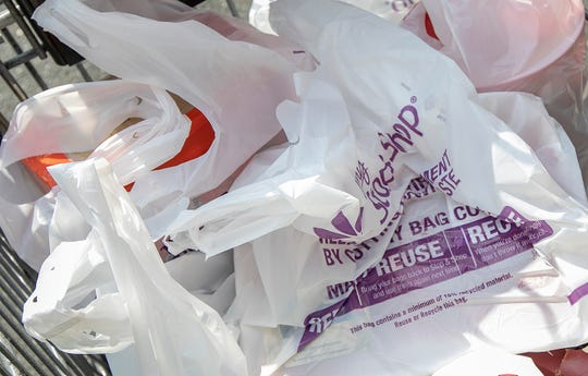 Associated Press photo of plastic bags at a store in Connecticut.