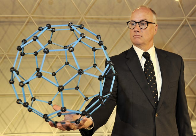 David Novak in the NC Stage Company play R. Buckminster Fuller, The History and Mystery of the Universe.