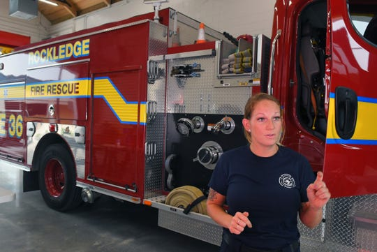Firefighter and driver/engineer Brittany Lawson gives a tour of Fire Station No.36 in Rockledge.