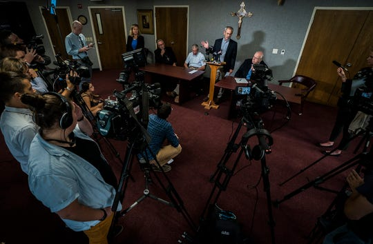 Committee members talk about am investigation report that released the names of 40 priests accused of sexual abuse during a news conference on Thursday, August 22, 2019, in South Burlington. Bishop Christopher Coyne, head of the Roman Catholic Diocese of Burlington, initiated the investigation looking into priest misconduct as far back as 1950.