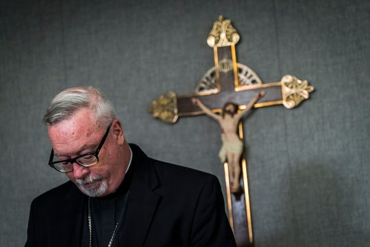 Bishop Christopher Coyne, head of the Roman Catholic Diocese of Burlington, announces the release of 40 names of priests accused of sexual abuse during a news conference on Thursday, August 22, 2019, in South Burlington. He also released a investigation report looking into priest misconduct looking back to 1950.