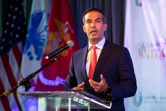 Texas General Land Office Commissioner George P. Bush speaks during the United Corpus Christi Chamber of Commerce's Salute to the Military luncheon at the Solomon P. Ortiz International Center on Tuesday, Aug. 22, 2019.