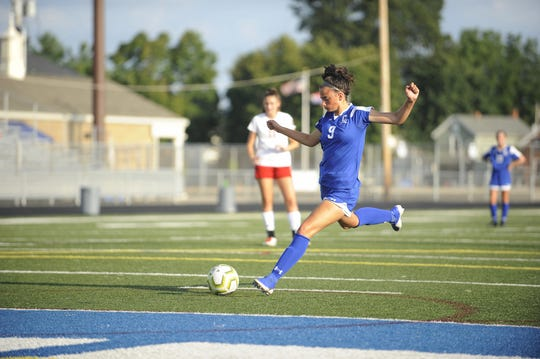Chillicothe's Addie Erslan kicks a penalty kick during a 4-3 win over Bishop Rosecrans High School at the Obadiah Harris Family Athletic Complex in Chillicothe, Ohio on Aug. 21, 2019. Erslan earned a spot on the United Soccer Coaches' All-Central Region Team.