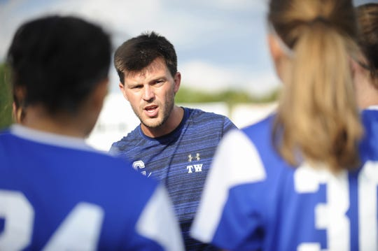 Chillicothe head coach Tyler Wickham talks to team during a 4-3 win over Bishop Rosecrans High School at the Obadiah Harris Family Athletic Complex in Chillicothe, Ohio on Aug. 21, 2019.