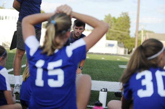 Chillicothe head coach Tyler Wickham talks to team during a 4-3 win over Bishop Rosecrans at the Obadiah Harris Family Athletic Complex in Chillicothe, Ohio on Aug. 21, 2019.
