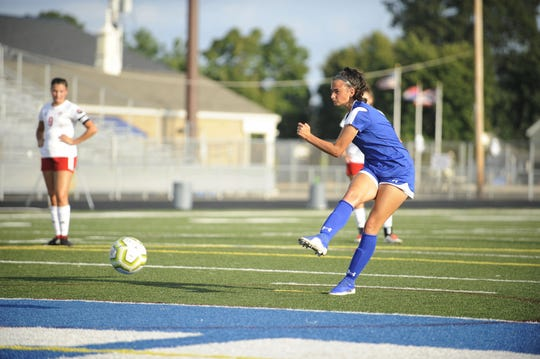 Chillicothe's Addie Erslan scores a goal on a penalty kick during a 4-3 win over Bishop Rosecrans at the Obadiah Harris Family Athletic Complex in Chillicothe, Ohio on Aug. 21, 2019.