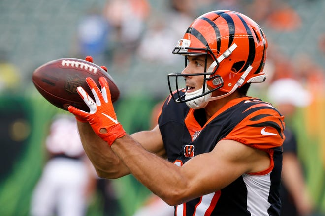 Cincinnati Bengals wide receiver Alex Erickson (12) catches a pass during warmups before the NFL Preseason Week 3 game between the Cincinnati Bengals and the New York Giants at Paul Brown Stadium in downtown Cincinnati on Thursday, Aug. 22, 2019.