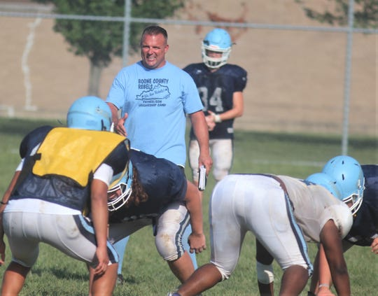 New head coach Bryson Warner at Boone County football practice, August 21, 2019.