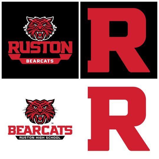A quadrant of photos illustrating Ruston High School's new logo designs.