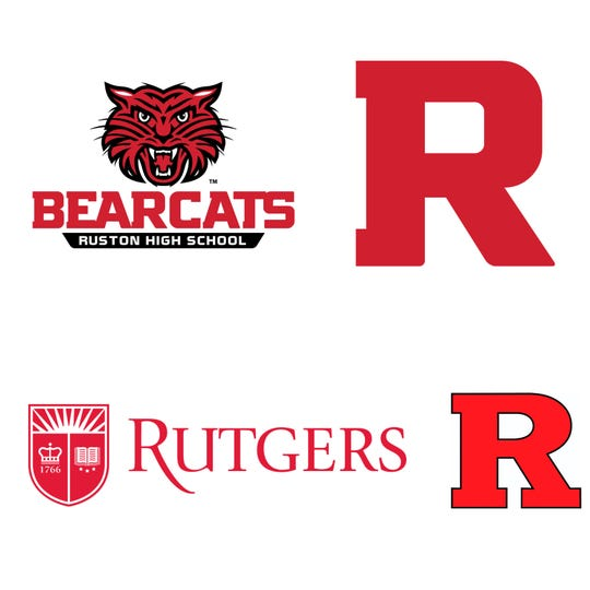 Ruston's new R logo (top) is different than Rutgers University's trademarked design