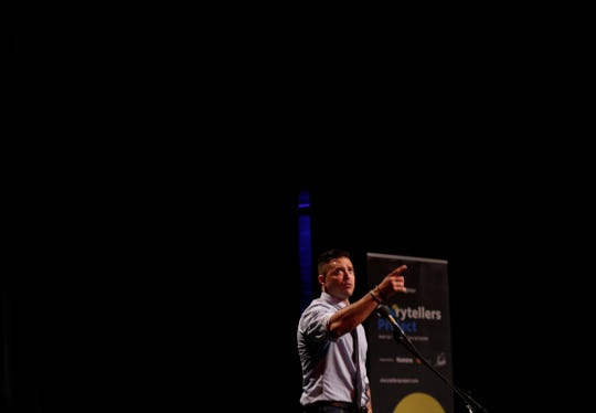 Erik Dominguez talks about embracing the qualities that make him different, during the Des Moines Storytellers Project: My First Time event at Hoyt Sherman in Des Moines on Tuesday, Aug. 20, 2019.
