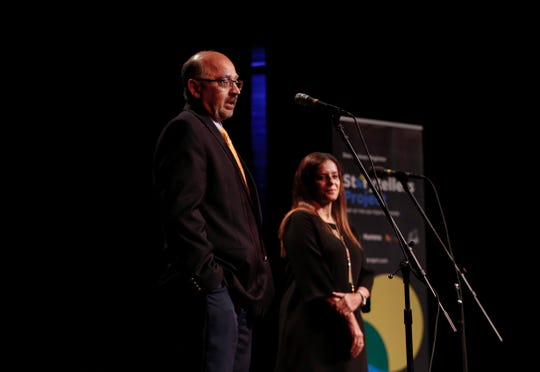 Shashank and Swapna Aurora share their story at the Des Moines Register Storytelling Project at Hoyt Sherman in Des Moines on Tuesday, Aug. 20, 2019.