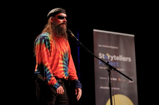 Justin Appel shares his story at the Des Moines Storytellers Project: My First Time event at Hoyt Sherman in Des Moines on Tuesday, Aug. 20, 2019.