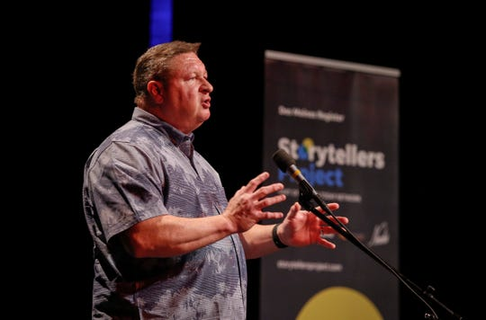 Rick McAtee talks about getting over a traumatic childhood experience, during Des Moines Storytellers Project: My First Time event Tuesday, Aug. 20, 2019, at Hoyt Sherman in Des Moines.