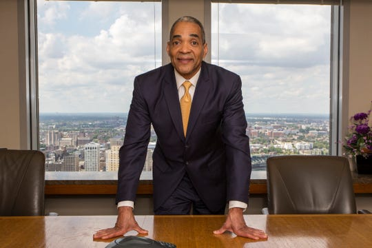 Reginald Turner is the 2019 winner of the Neal Shine Lifetime Achievement Award, part of the Shining Light Regional Cooperation Awards, pictured here in his office at Clark Hill in Detroit, Sunday, Aug 18, 2019.