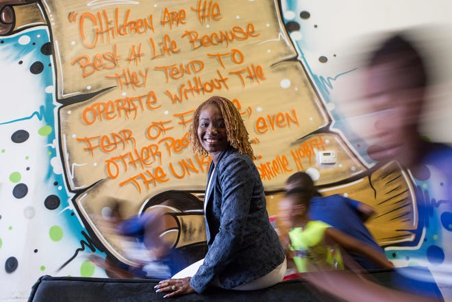 Danielle North, winner of the Dave Big Future Leader Award is photographed at her business Kidz Kingdom, a day-care facility and the first indoor playground in Detroit, Sunday, Aug. 18, 2019.  She is VP at Promise Schools and she is a co-founder of the Detroit Women's Leadership Network, a facebook group that has turned into a real-life group of women who support each other.