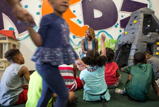 Danielle North, winner of the Dave Big Future Leader Award is photographed conducting a Biz Kidz class at her business Kidz Kingdom, a day-care facility and the first indoor playground in Detroit, Sunday, Aug. 18, 2019.  She is VP at Promise Schools and she is a co-founder of the Detroit Women's Leadership Network, a facebook group that has turned into a real-life group of women who support each other.